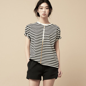 STRIPE SHORT SLEEVE-ivory